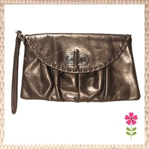 Brighton Metallic Leather Wristlet Wallet Bag